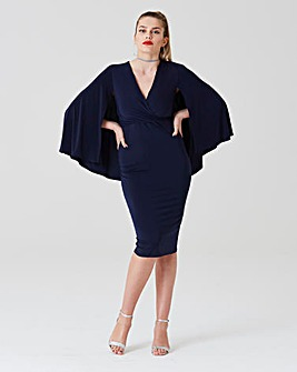Simply Be by Night Slink Cape Midi Dress