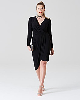 Simply Be by Night Wrap Front Dress