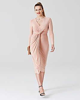 Simply Be by Night Slink Knot Midi Dress