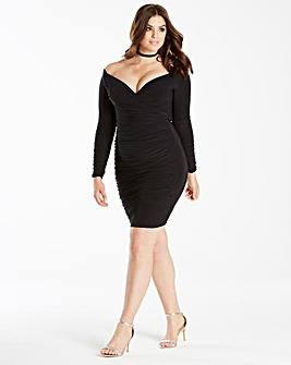 Simply Be by Night Wrap Ruched Dress