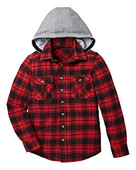 KD Boys Checked Hooded Shirt
