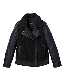 KD Girls PU and Faux Sheep Biker Jacket