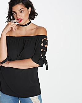Simply Be Lace Up Sleeve bardot