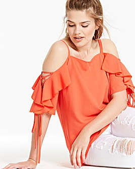 Simply Be Lace Up Sleeve Ruffle Blouse