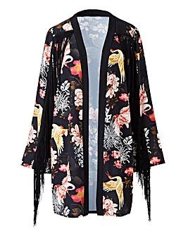 Simply Be Print Fringed Kimono