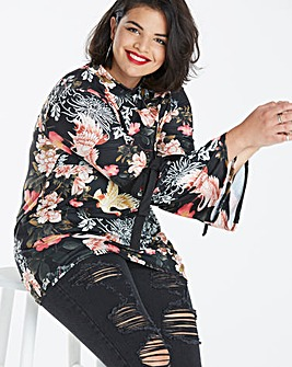 Simply Be Oriental Print Tie Sleeve Top