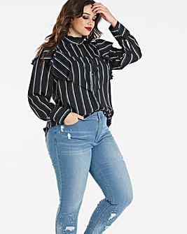 Simply Be Striped Ruffle Shirt