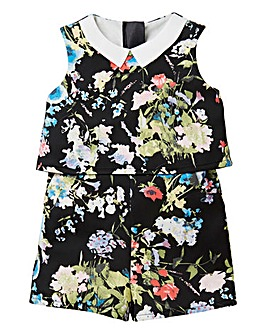 KD Girls Floral Print Scuba Playsuit