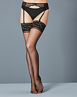 2 Pack Lace Top Black Stockings