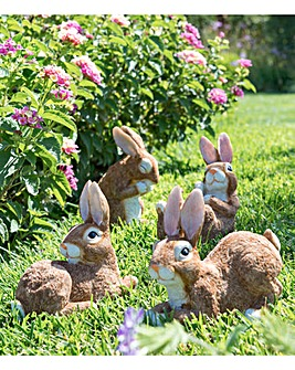 Set of 4 Country Bunnies