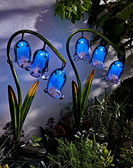 Solar Glass Bluebell Stake Light 2 Pack