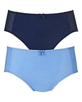 Blue Check Two Pack Mesh Midi Briefs