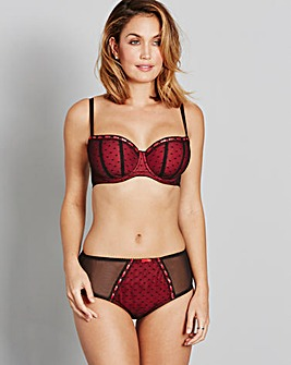 Hannah Ribbon Slot Black/Red Balcony Bra