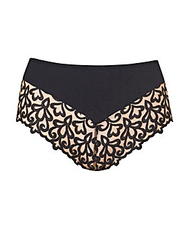 Black Ornamental Embroidered Full Briefs