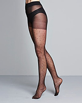 2 Pack Polka Dot/Plain Fashion Tights
