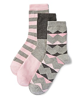 3 Pack Geo Print Ankle Socks