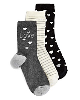 Three Pack Love Print Ankle Socks