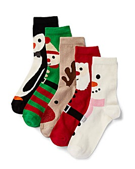 5 Pack Christmas Selection Ankle Socks