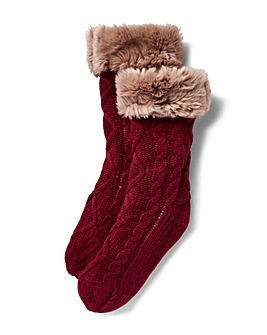 Mulberry Cable Knit Fur Top Fleece Socks