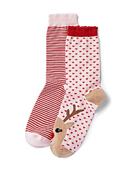 Two Pack Reindeer/Stripe Ankle Socks