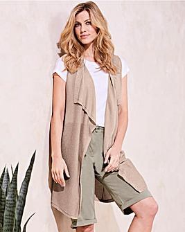 Sleeveless Metallic Waterfall Cardigan