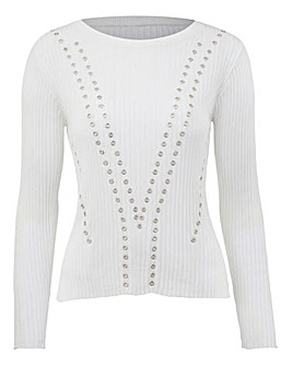 Ribbed Jumper With Eyelets