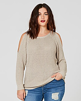 Cold Shoulder Fisherman Rib Jumper