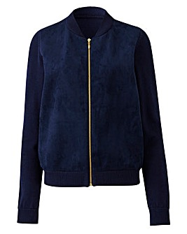 Suedette Front Knitted Bomber Jacket