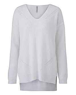 V Neck Jumper with Pointelle Detail