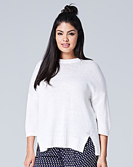 Drop Shoulder Jumper with Back Zip