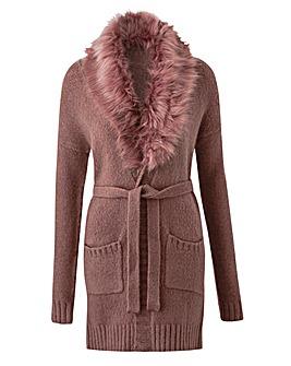 Belted Fur Collar Cardigan
