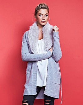 Belted Fur Collar Cardigan