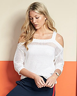 Open Knit Cold Shoulder Jumper