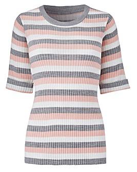 Grey Stripe Rib Top