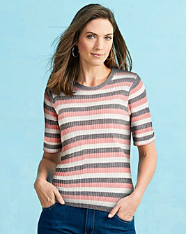 Grey Stripe Rib Top