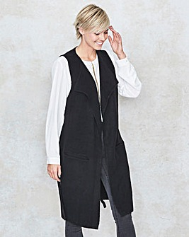 Belted Boucle Sleeveless Waistcoat