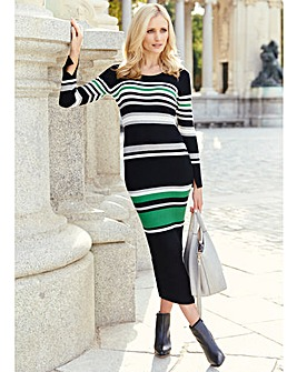 Stripe Ribbed Knitted Dress