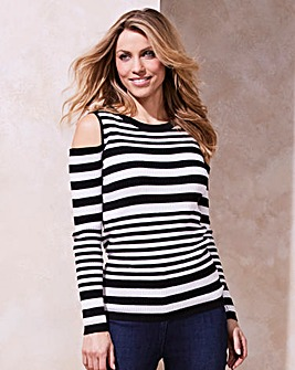 Mono Stripe Cold Shoulder Jumper