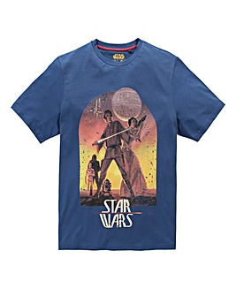 Star Wars Sunset Poster Navy T-Shirt Reg