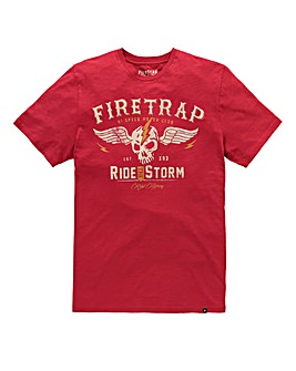 Firetrap Rebel Red Highway T-Shirt Long