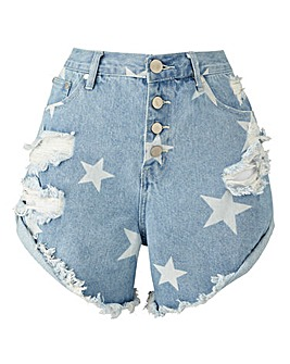 Alice & You Star Print Denim Shorts