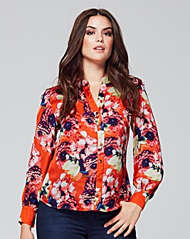 Wolf & Whistle Orange Floral Blouse