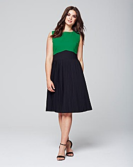 Wolf & Whistle Pleated Colour Block Dres
