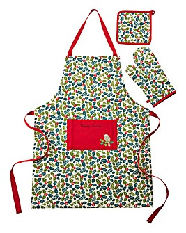 Christmas Holly Apron, Glove & Potholder
