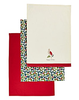 Christmas Holly Set of 3 Tea Towels