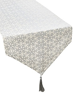 Silver Snowflakes Table Runner with Tass