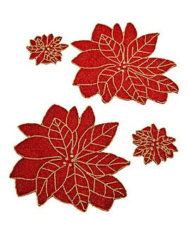 Poinsettia Set of 2 Placemats & 2 Coaste