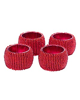 Set of 4 Beaded Napkin Rings Red