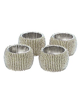 Set of 4 Beaded Napkin Rings Silver