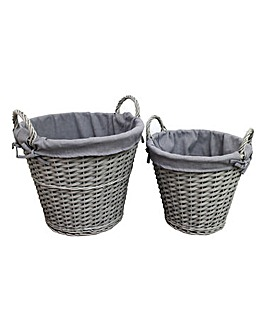 Set of 2 Grey Split Wood Open Basket